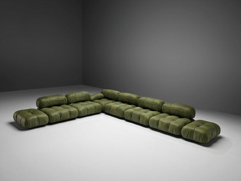 Mid-Century Modern Mario Bellini 'Camaleonda' Sectional Sofa in Green Leather For Sale