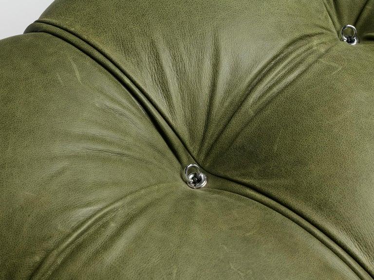 Italian Mario Bellini 'Camaleonda' Sectional Sofa in Green Leather For Sale