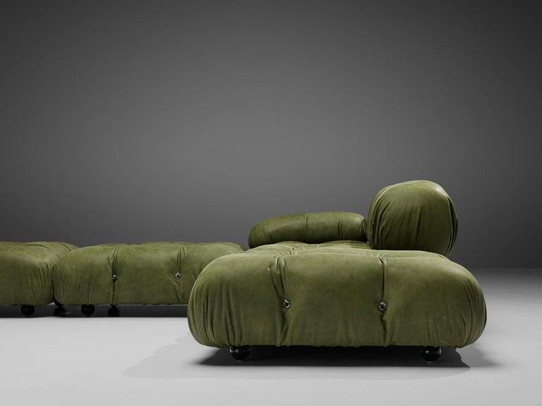 Late 20th Century Mario Bellini 'Camaleonda' Sectional Sofa in Green Leather For Sale