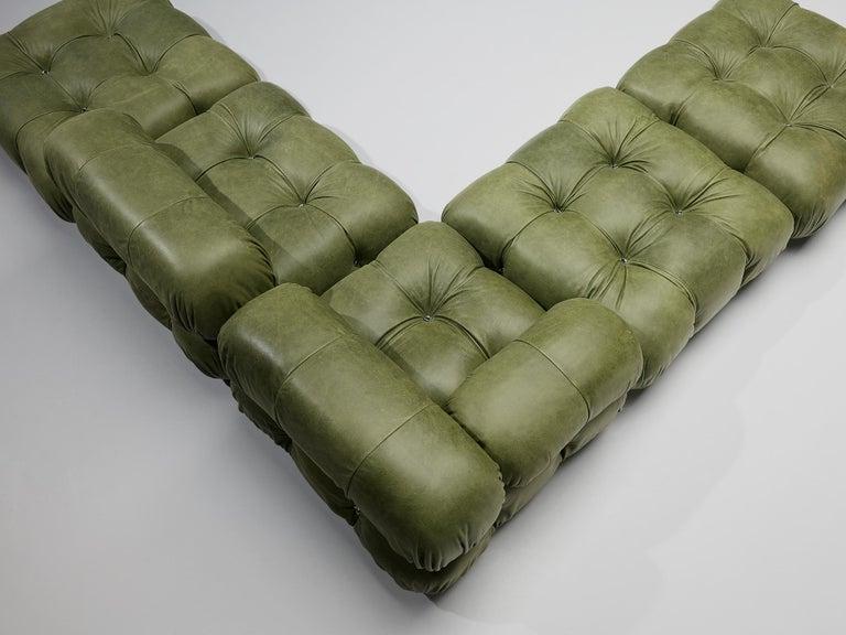 Mario Bellini 'Camaleonda' Sectional Sofa in Green Leather For Sale 3