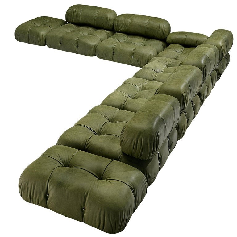 Mario Bellini 'Camaleonda' Sectional Sofa in Green Leather For Sale