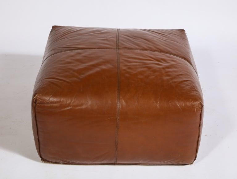Cognac Leather Pouf Ottoman