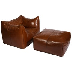 Mario Bellini Cognac Brown Leather Chair and Ottoman Le Bambole Set, Italy