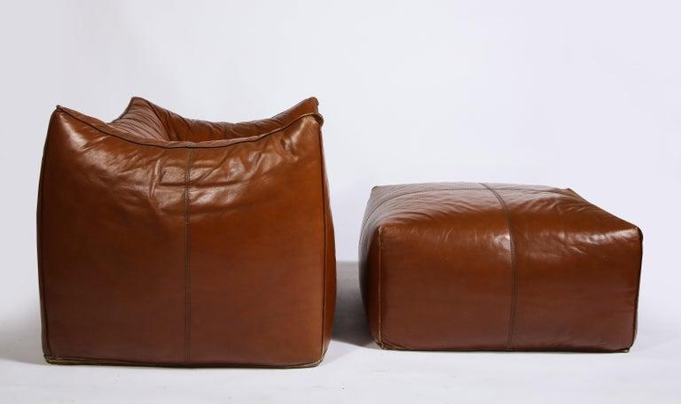 Mario Bellini Cognac Brown Leather Sofa, Chair, Ottoman Le Bambole Set, Italy For Sale 5