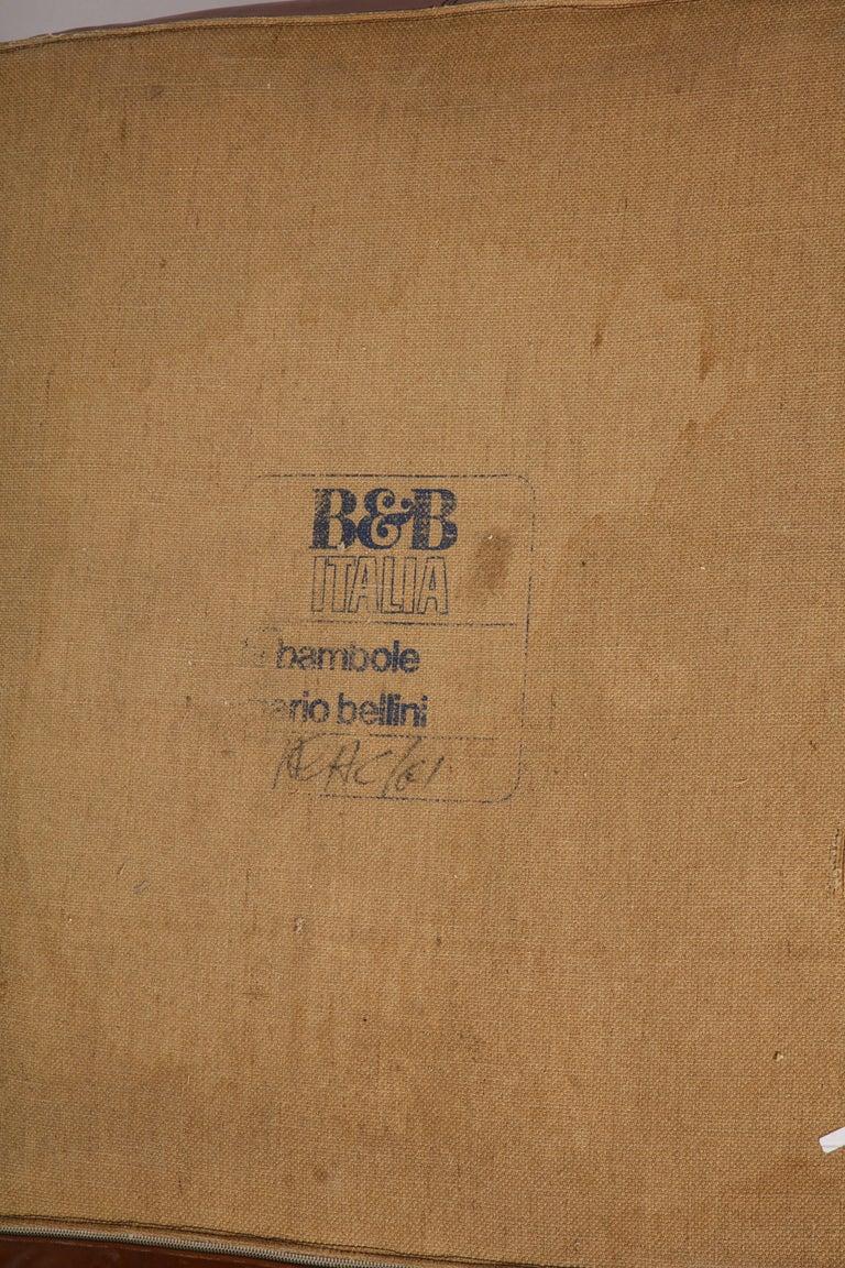 Mario Bellini Cognac Brown Leather Sofa, Chair, Ottoman Le Bambole Set, Italy For Sale 6