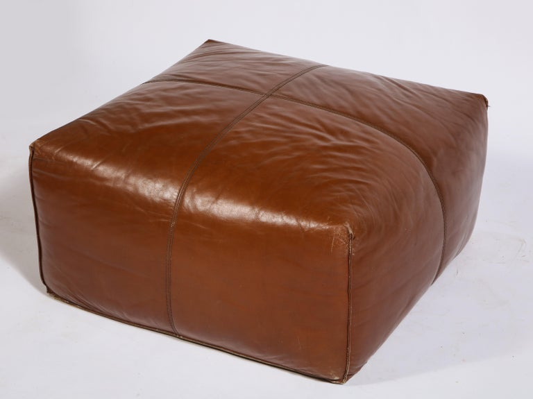 Mario Bellini Cognac Brown Leather Sofa, Chair, Ottoman Le Bambole Set, Italy In Good Condition For Sale In New York, NY