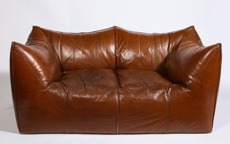 1970s Mario Bellini Cognac Brown Leather Sofa, Chair, Ottoman Le Bambole Set, Italy For Sale
