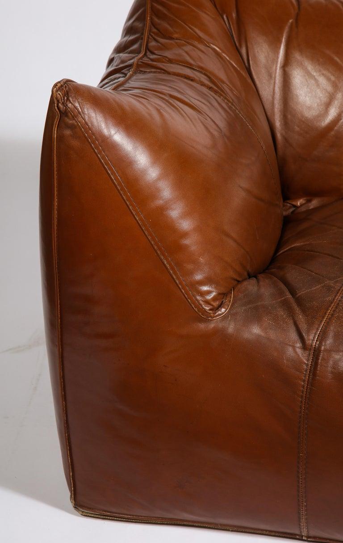 Mario Bellini Cognac Brown Leather Sofa, Chair, Ottoman Le Bambole Set, Italy For Sale 1