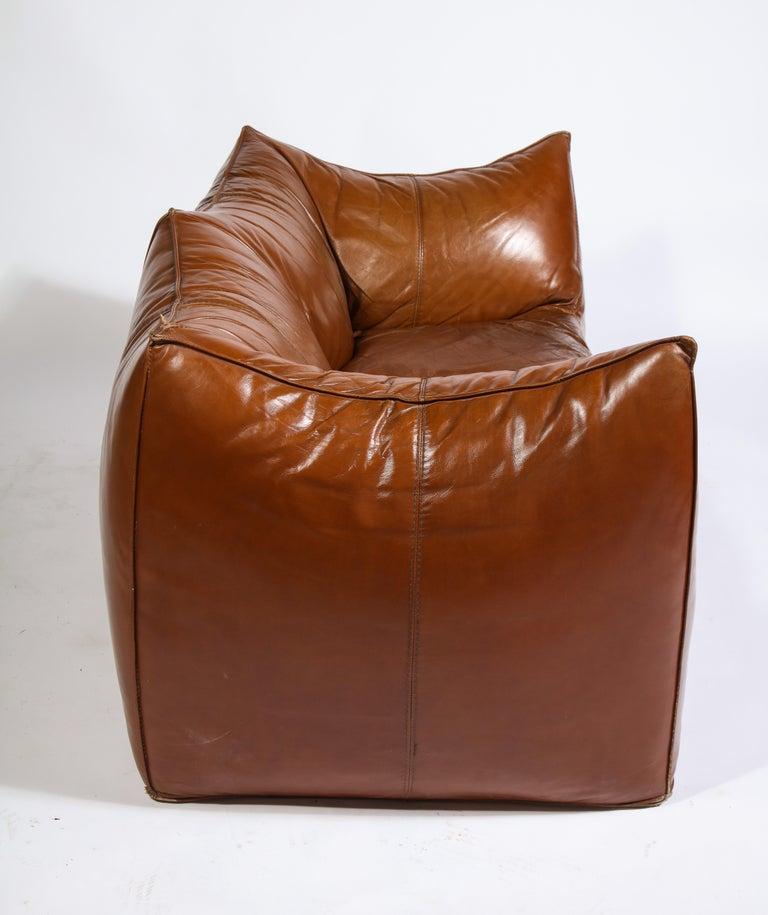 Mario Bellini Cognac Brown Leather Sofa, Chair, Ottoman Le Bambole Set, Italy For Sale 2