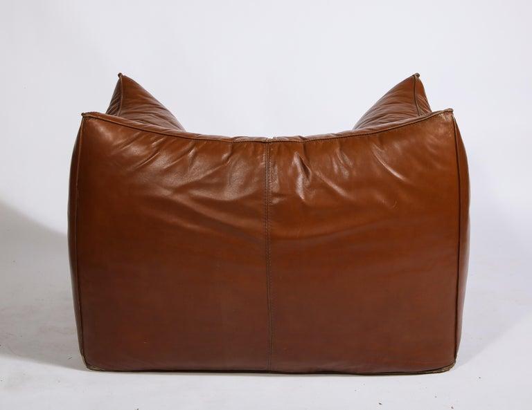 Mario Bellini Cognac Brown Leather Sofa, Chair, Ottoman Le Bambole Set, Italy For Sale 3