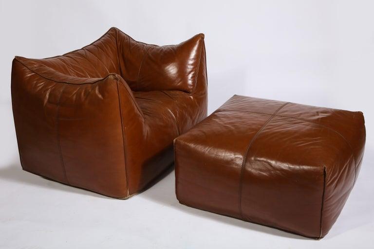 Mario Bellini Cognac Brown Leather Sofa, Chair, Ottoman Le Bambole Set, Italy For Sale 4