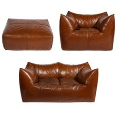 Mario Bellini Cognac Brown Leather Sofa, Chair, Ottoman Le Bambole Set, Italy
