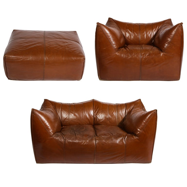 Mario Bellini Cognac Brown Leather Sofa, Chair, Ottoman Le Bambole Set, Italy For Sale