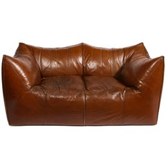 Mario Bellini Cognac Brown Leather Sofa Le Bambole, Italy