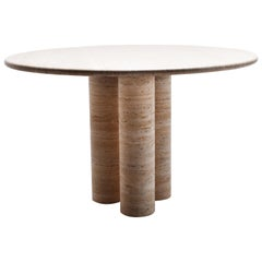 Cream Travertine Round Dining Table, 1970, Italy, in the style of Mario Bellini