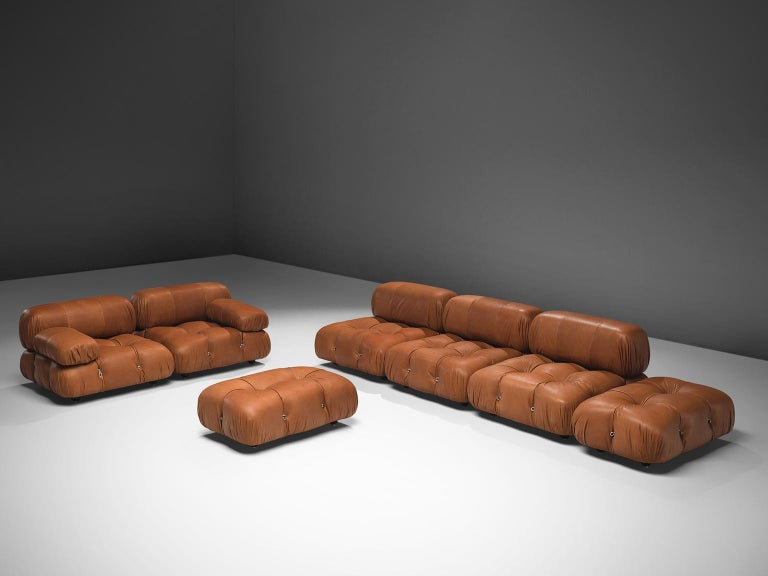 Mario Bellini, large modular 'Cameleonda' sofa, brown leather upholstery, Italy, 1971, reupholstered by our in-house upholstery atelier.   The sectional elements of this sofa were made to be used freely and apart from one another. This sofa is