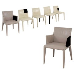 Mario Bellini for B&B Italia Leather Dining Chair Set of 6, Cream, Greige, Italy