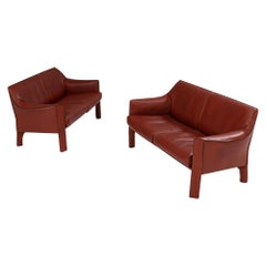 Mario Bellini for Cassina 415 Cab Leather Sofas, Set of 2