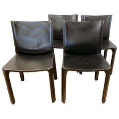 Mario Bellini for Cassina Black Leather Side Chairs Set of Four