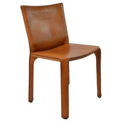 Mario Bellini for Cassina Cab 412 Leather Chairs, Set of 8