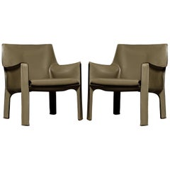 Mario Bellini for Cassina 'Cab 414' Leather Lounge Chairs, Signed, circa 1978