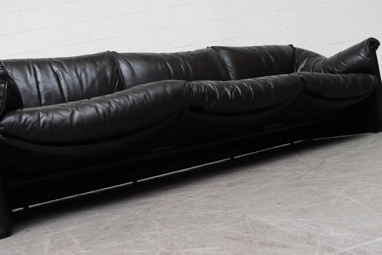 Mario Bellini for Cassina Handsome Black Leather 3-Seat Sofa For ...