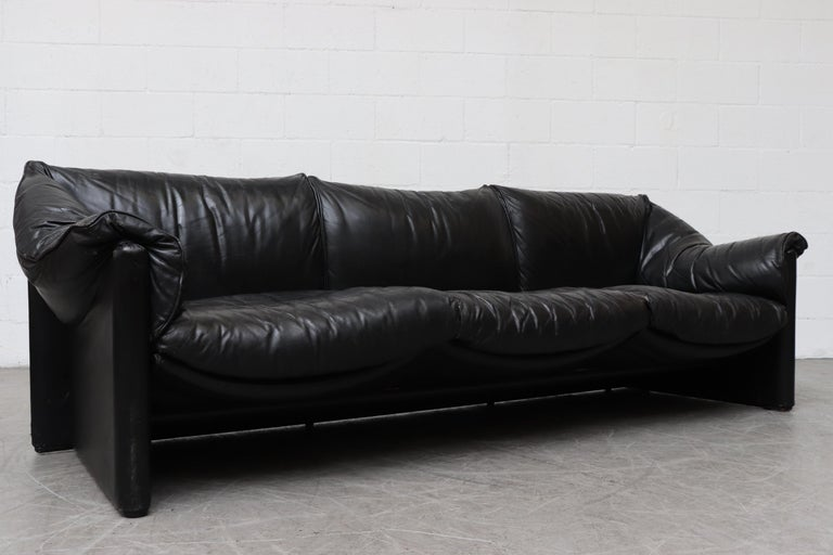 Mario Bellini For Cassina Handsome Black Leather 3 Seater Sofa For