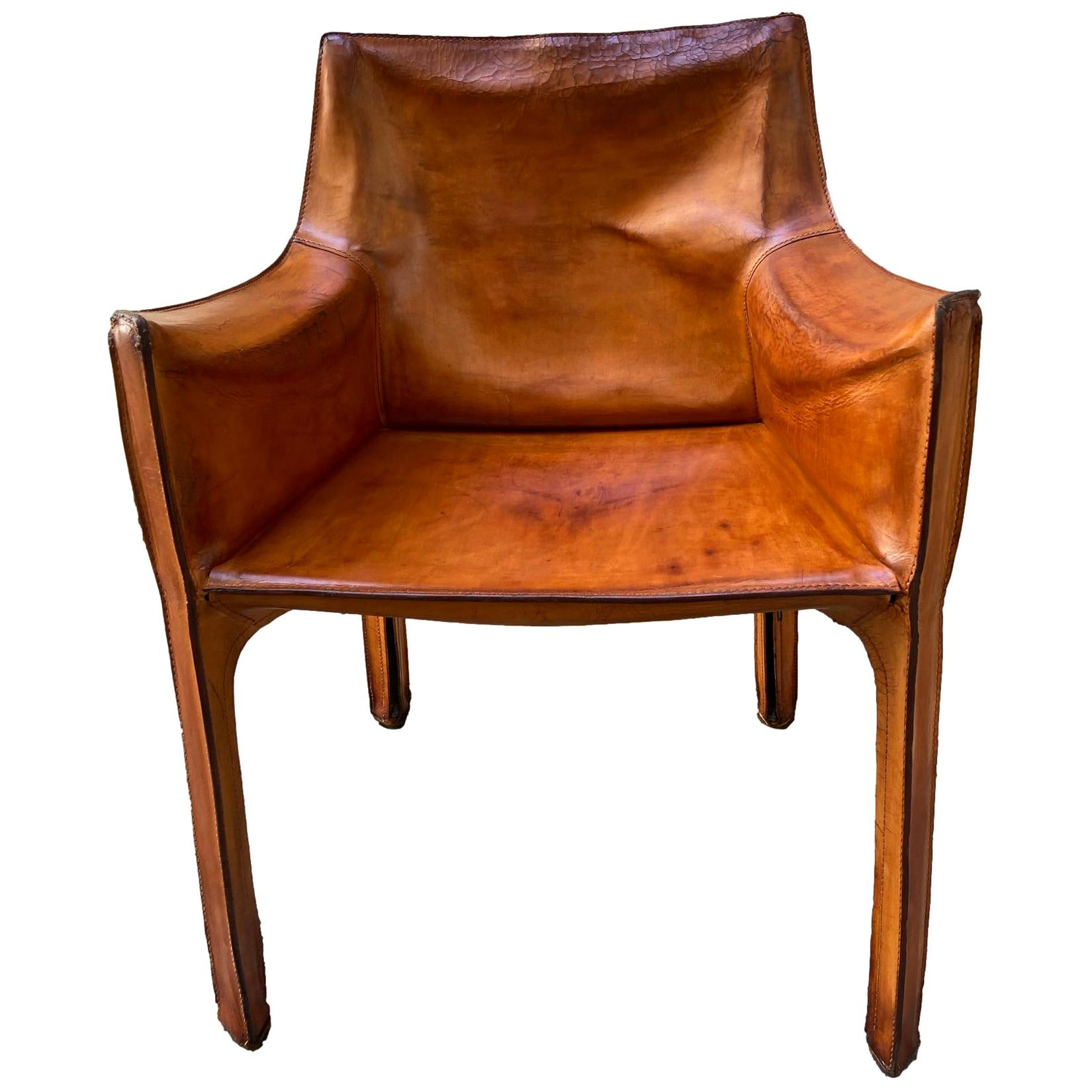 Mario Bellini for Cassina Leather Cab Lounge Chair, Italy, 1970s