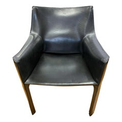 Mario Bellini for Cassina Signed Cab Armchair Black Leather