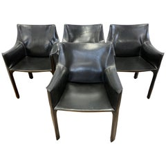 Mario Bellini for Cassina Signed Cab Armchairs Black Leather Set of Four