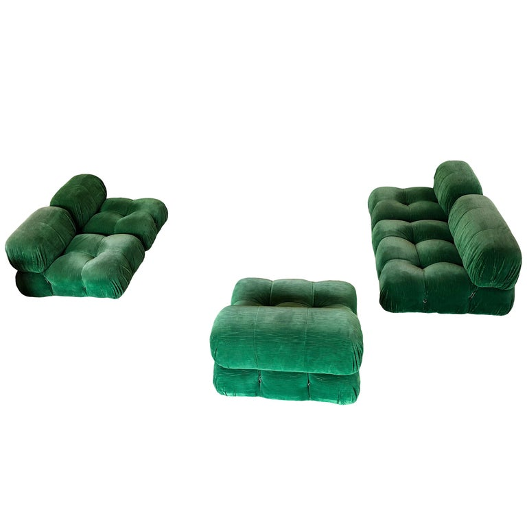 Mario Bellini, 'Camaleonda' sofa, in green velvet upholstery by Italy, 1972.