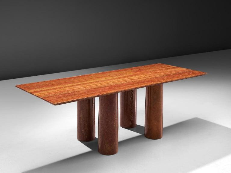 Mario Bellini Design.Mario Bellini Il Colonato Red Travertine Table