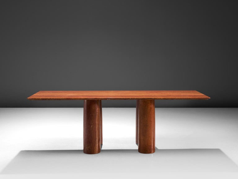 Post-Modern Mario Bellini 'Il Colonato' Red Travertine Table For Sale