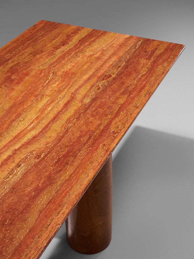 Mario Bellini 'Il Colonato' Red Travertine Table In Good Condition For Sale In Waalwijk, NL