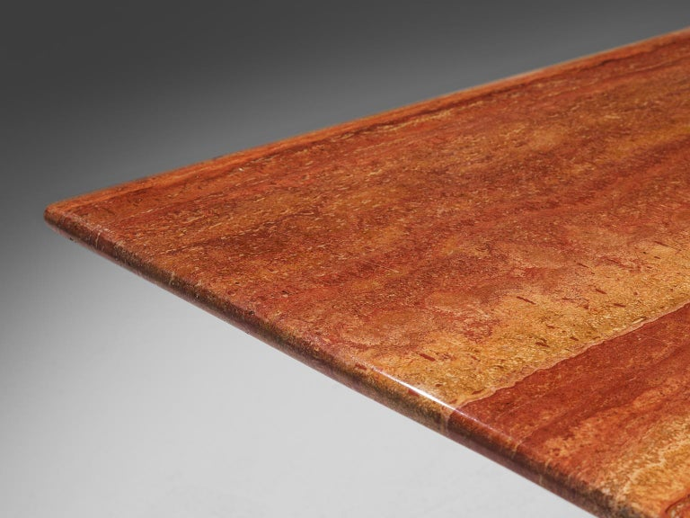Late 20th Century Mario Bellini 'Il Colonato' Red Travertine Table For Sale