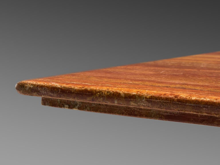 Mario Bellini 'Il Colonato' Red Travertine Table For Sale 1