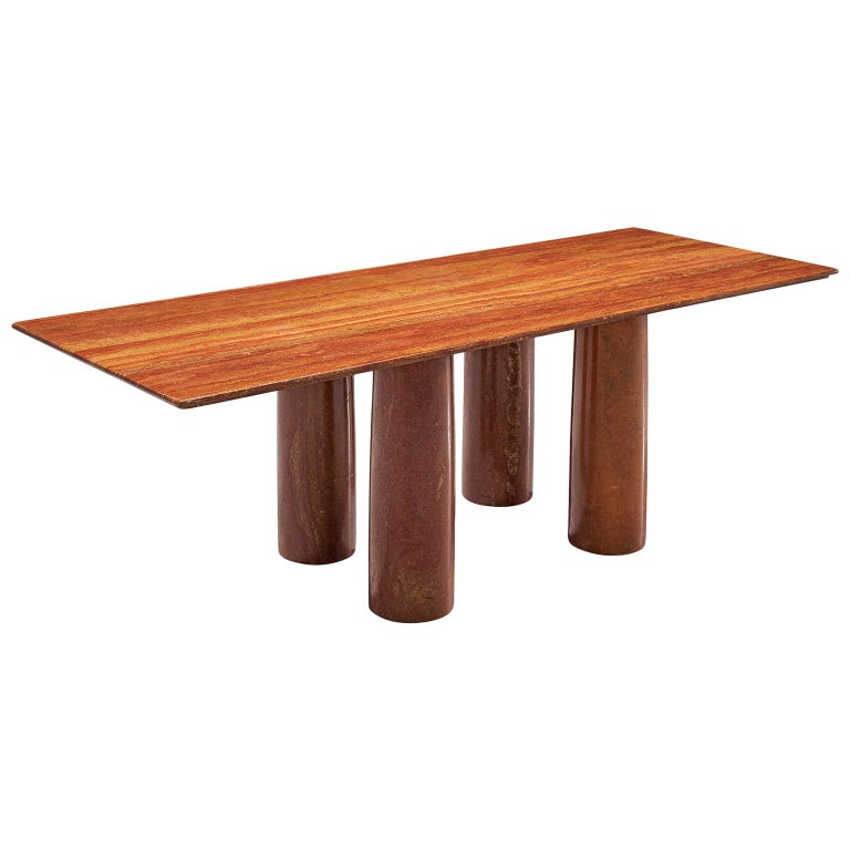 Mario Bellini 'Il Colonato' Red Travertine Table For Sale