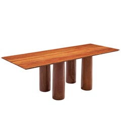 Mario Bellini 'Il Colonato' Red Travertine Table