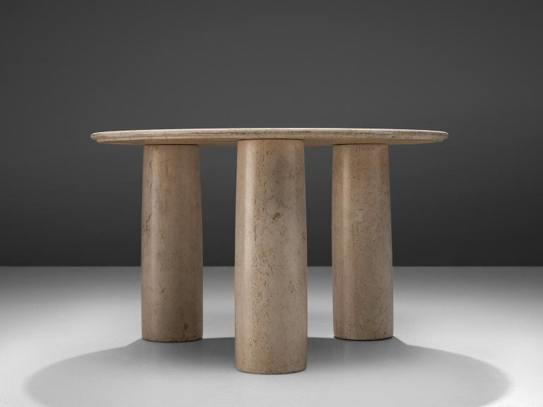 Mario Bellini for Cassina, table 'Il Colonnato', travertine, Italy, 1970s.