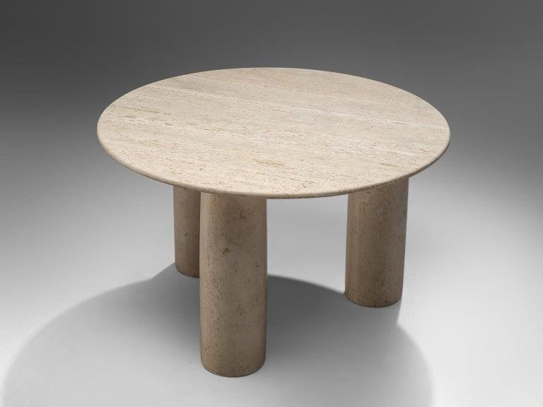 Mid-Century Modern Mario Bellini 'Il Colonato' White Travertine Table