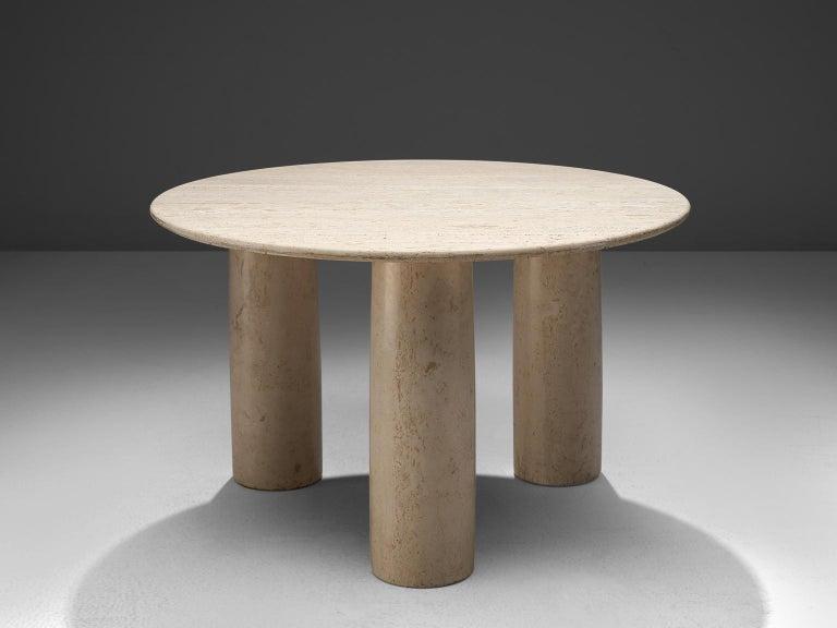 Italian Mario Bellini 'Il Colonato' White Travertine Table