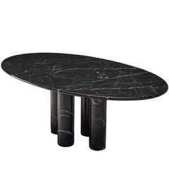 Mario Bellini 'Il Colonnato' Black Oval Dining Table for Cassina