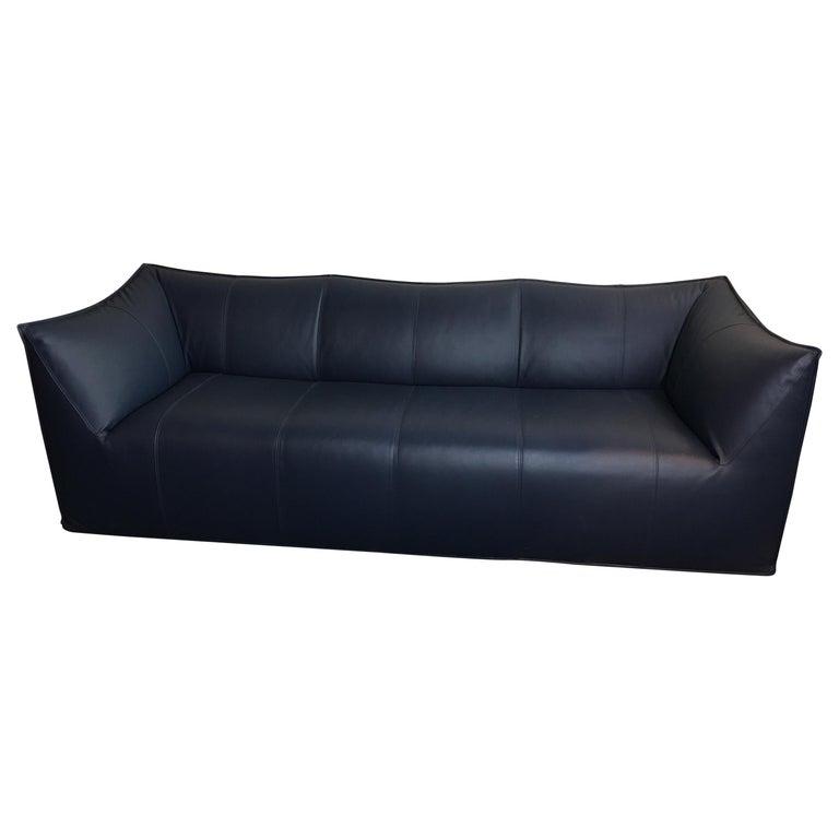 Mario Bellini Le Bambole 3-Seat Sofa in dark Blue Leather For Sale ...