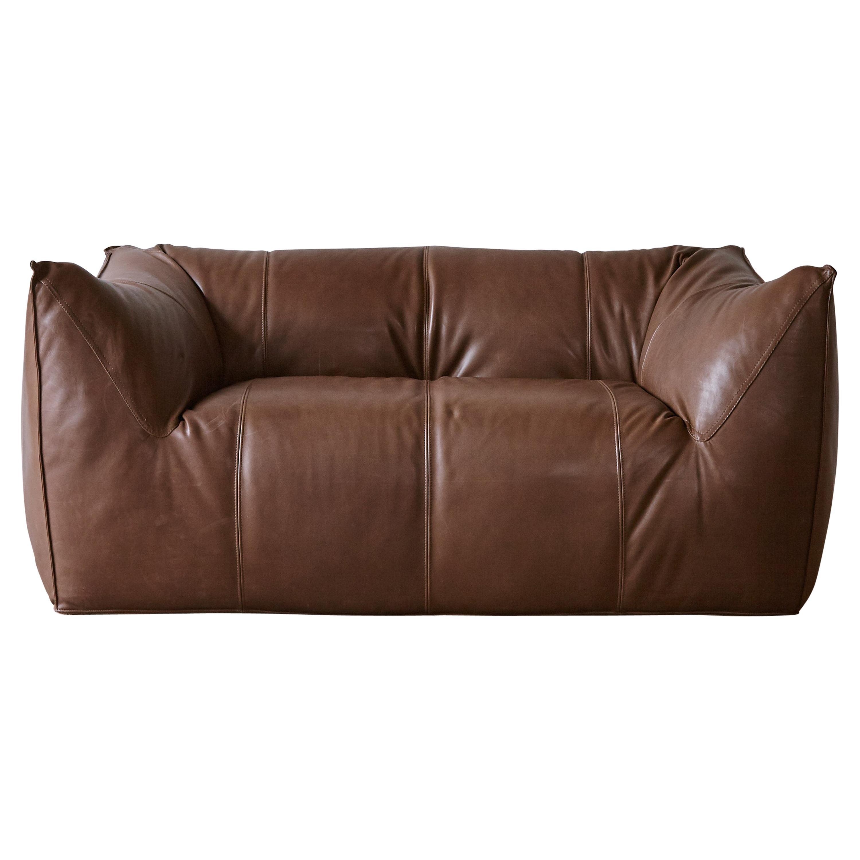 Mario Bellini Le Bambole Sofa, Brown Leather, B&B Italia, 1970s