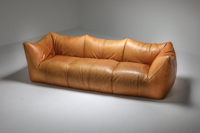 Upholstery Mario Bellini 'Le Bambole' Three-Seat Couch in Tan Leather For Sale