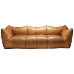 Mario Bellini 'Le Bambole' Three-Seat Couch in Tan Leather