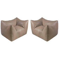 """Mario Bellini Leather """"Bambola"""" Lounge Chairs for B&B Italia, Italy, 1970s"""