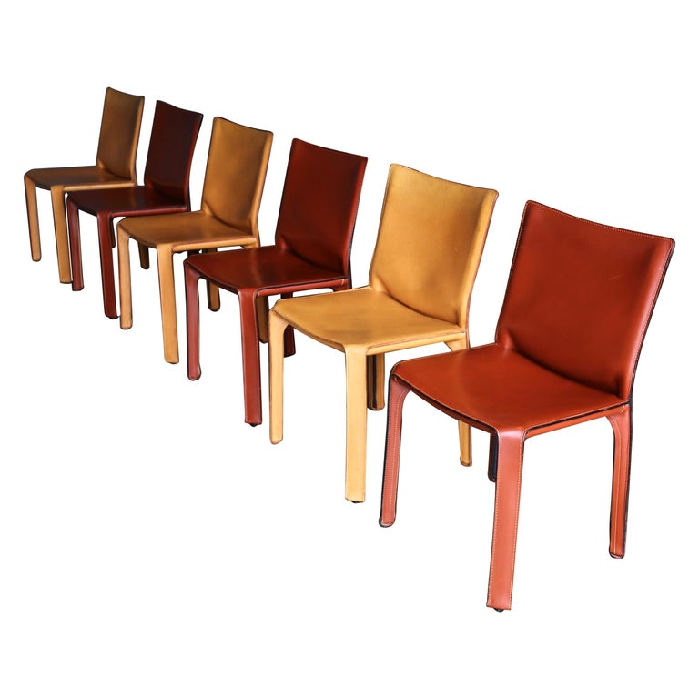 """Mario Bellini Leather """"Cab"""" Chairs for Cassina For Sale"""