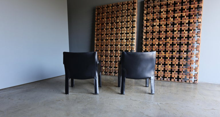 Mario Bellini Leather Cab Lounge Chairs for Cassina For Sale 4