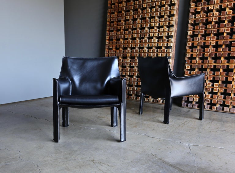 Modern Mario Bellini Leather Cab Lounge Chairs for Cassina For Sale